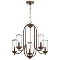 Quorum 6044-5-86 Collins 5 Light 25 inch Oiled Bronze Chandelier Ceiling Light