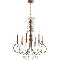 Quorum 6044-6-39 Venice 6 Light 28 inch Vintage Copper Chandelier Ceiling Light
