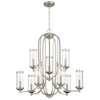 Quorum 6044-9-65 Collins 9 Light 30 inch Satin Nickel Chandelier Ceiling Light