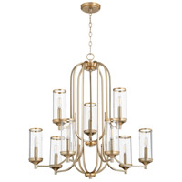 Quorum 6044-9-80 Collins 9 Light 30 inch Aged Brass Chandelier Ceiling Light