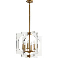 Quorum 605-6-80 Broadway 6 Light 20 inch Aged Brass Pendant Ceiling Light