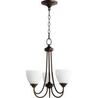 Quorum 6050-3-86 Brooks 3 Light 19 inch Oiled Bronze Chandelier Ceiling Light