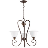 Quorum 6053-3-186 Celesta 21 inch Oiled Bronze Chandelier Ceiling Light in Satin Opal, Satin Opal