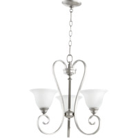 Quorum 6053-3-64 Celesta 3 Light 21 inch Classic Nickel Chandelier Ceiling Light in Satin Opal