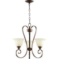 Quorum 6053-3-86 Celesta 3 Light 21 inch Oiled Bronze Chandelier Ceiling Light in Amber Scavo