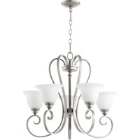 Quorum 6053-5-64 Celesta 5 Light 26 inch Classic Nickel Chandelier Ceiling Light in Satin Opal