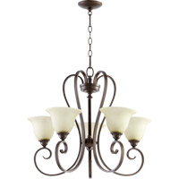 Quorum 6053-5-86 Celesta 5 Light 26 inch Oiled Bronze Chandelier Ceiling Light in Amber Scavo