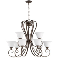 Quorum 6053-9-186 Celesta 34 inch Oiled Bronze Chandelier Ceiling Light in Satin Opal, Satin Opal