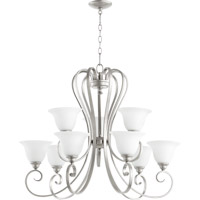 Quorum 6053-9-64 Celesta 9 Light 34 inch Classic Nickel Chandelier Ceiling Light in Satin Opal