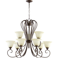 Quorum 6053-9-86 Celesta 9 Light 34 inch Oiled Bronze Chandelier Ceiling Light in Amber Scavo