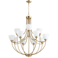 Quorum 6059-12-80 Enclave 12 Light 35 inch Aged Brass Chandelier Ceiling Light