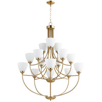 Quorum 6059-15-80 Enclave 15 Light 39 inch Aged Brass Chandelier Ceiling Light