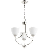 Quorum 6059-3-62 Enclave 3 Light 19 inch Polished Nickel Chandelier Ceiling Light in Satin Opal