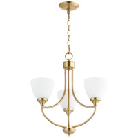 Quorum 6059-3-80 Enclave 3 Light 19 inch Aged Brass Mini Chandelier Ceiling Light in Satin Opal