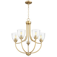 Quorum 6059-5-280 Enclave 5 Light 24 inch Aged Brass Chandelier Ceiling Light