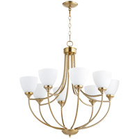Quorum 6059-8-80 Enclave 8 Light 30 inch Aged Brass Chandelier Ceiling Light