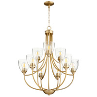Quorum 6059-9-280 Enclave 9 Light 27 inch Aged Brass Chandelier Ceiling Light