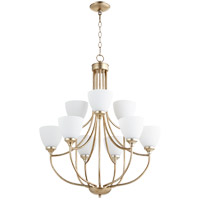 Quorum 6059-9-60 Enclave 9 Light 27 inch Aged Silver Leaf Chandelier Ceiling Light