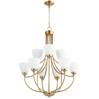 Quorum 6059-9-80 Enclave 9 Light 27 inch Aged Brass Chandelier Ceiling Light in Satin Opal
