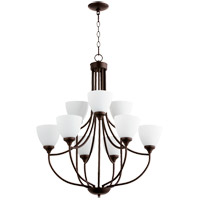 Quorum 6059-9-86 Enclave 9 Light 27 inch Oiled Bronze Chandelier Ceiling Light in Satin Opal