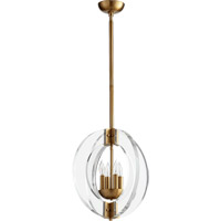 Quorum 606-4-80 Broadway 4 Light 16 inch Aged Brass Chandelier Ceiling Light