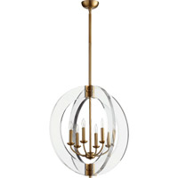 Quorum 606-6-80 Broadway 6 Light 24 inch Aged Brass Chandelier Ceiling Light