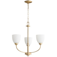 Quorum 6060-3-80 Reyes 3 Light 22 inch Aged Brass Chandelier Ceiling Light