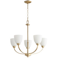Quorum 6060-5-80 Reyes 5 Light 26 inch Aged Brass Chandelier Ceiling Light