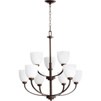 Quorum International Reyes 9 Light Chandelier in Oiled Bronze 6060-9-86