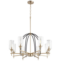 Quorum 607-8-6980 Espy 8 Light 32 inch Noir and Aged Brass Chandelier Ceiling Light