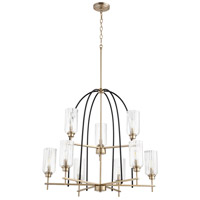 Quorum 607-9-6980 Espy 9 Light 32 inch Noir and Aged Brass Chandelier Ceiling Light