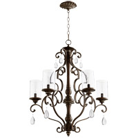 Quorum 6073-5-39 San Miguel 28 inch Vintage Copper Chandelier Ceiling Light, Clear Seeded