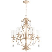 Quorum 6073-5-70 San Miguel 28 inch Persian White Chandelier Ceiling Light Clear Seeded