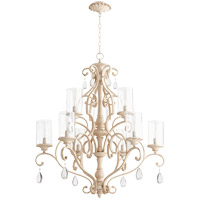 Quorum 6073-9-70 San Miguel 32 inch Persian White Chandelier Ceiling Light, Clear Seeded