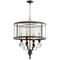Quorum 6081-4-39 Champlain 23 inch Vintage Copper Chandelier Ceiling Light, Clear Water Glass
