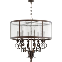 Quorum 6081-8-39 Champlain 31 inch Vintage Copper Chandelier Ceiling Light, Clear Water Glass