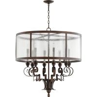 Quorum 6081-8-39 Champlain 31 inch Vintage Copper Chandelier Ceiling Light Clear Water Glass
