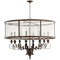 Quorum 6082-8-39 Champlain 38 inch Vintage Copper Chandelier Ceiling Light, Clear Water Glass