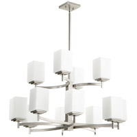 Quorum 6084-12-65 Delta 12 Light 34 inch Satin Nickel Chandelier Ceiling Light