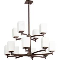 Quorum 6084-12-86 Delta 12 Light 34 inch Oiled Bronze Chandelier Ceiling Light