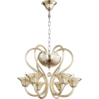 Vivaldi 6 Light 24 inch Chrome with Cognac Chandelier Ceiling Light