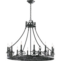 Quorum 6093-12-50 Lorenco 12 Light 34 inch Spanish Silver Chandelier Ceiling Light
