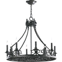 Quorum 6093-8-50 Lorenco 8 Light 28 inch Spanish Silver Chandelier Ceiling Light
