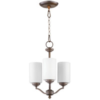 Quorum 6096-3-186 Atwood 15 inch Oiled Bronze Chandelier Ceiling Light in Satin Opal, Satin Opal