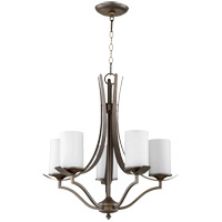 Quorum 6096-5-186 Atwood 22 inch Oiled Bronze Chandelier Ceiling Light in Satin Opal, Satin Opal