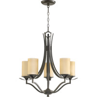 Quorum 6096-5-86 Atwood 5 Light 22 inch Oiled Bronze Chandelier Ceiling Light in Amber Scavo