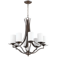 Quorum 6096-8-186 Atwood 28 inch Oiled Bronze Chandelier Ceiling Light in Satin Opal, Satin Opal