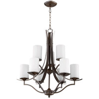 Quorum 6096-9-186 Atwood 30 inch Oiled Bronze Chandelier Ceiling Light in Satin Opal, Satin Opal