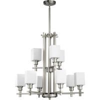 Quorum International Tate 9 Light Chandelier in Satin Nickel 6098-9-65