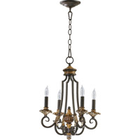 Quorum 6101-4-44 Capella 4 Light 15 inch Toasted Sienna With Golden Fawn Chandelier Ceiling Light